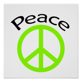 Lime Green Peace & Word Poster