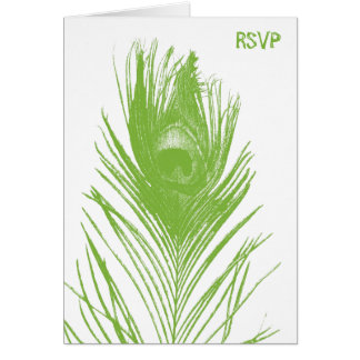 Lime Green Peacock Wedding RSVP Card