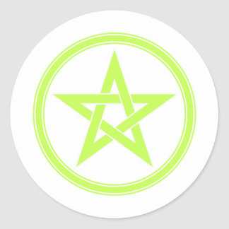Lime Green Pentacle Pentagram Round Stickers
