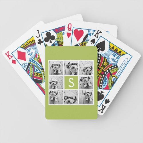Lime Green Photo Collage Custom Monogram Bicycle Playing Cards