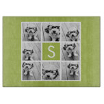 Lime Green Photo Collage Custom Monogram Cutting Board