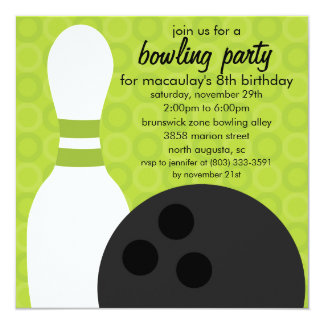 Lime Green Pin Pals Bowling Birthday Party Card