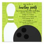 """Lime Green Pin Pals Bowling Birthday Party 5.25"""" Square Invitation Card"""
