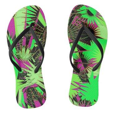 Beach Themed Lime Green/Pink Custom Slim Straps / Flip Flops