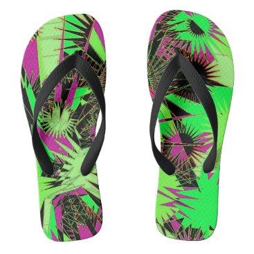 Beach Themed Lime Green/Pink Custom Wide Straps / Flip Flops
