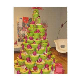 Lime Green & Pink Jingle Bowls Christmas Tree Wood Wall Decor