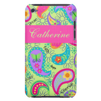 Lime Green Pink Modern Paisley Pattern Barely There iPod Case