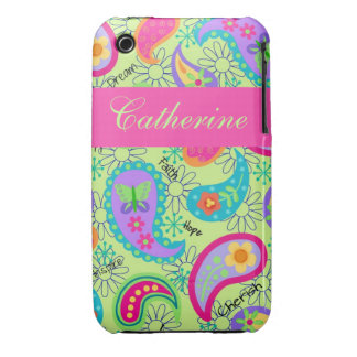 Lime Green Pink Modern Paisley Pattern iPhone 3 Case-Mate Cases