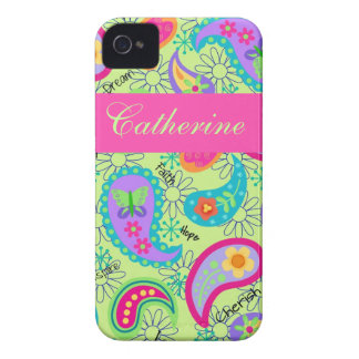 Lime Green Pink Modern Paisley Pattern iPhone 4 Case-Mate Case