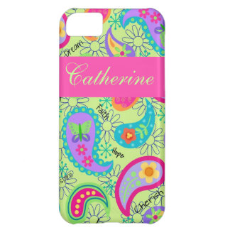 Lime Green Pink Modern Paisley Pattern iPhone 5C Case