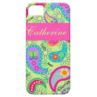 Lime Green Pink Modern Paisley Pattern iPhone SE/5/5s Case