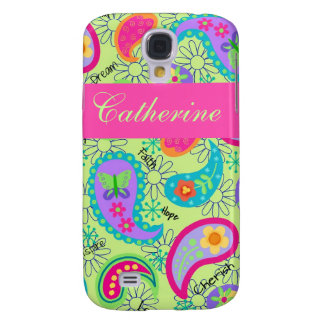 Lime Green Pink Modern Paisley Pattern Samsung S4 Case