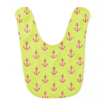 Lime Green Pink Nautical Anchor Pattern Bib