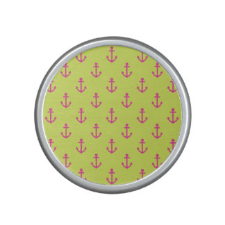 Lime Green Pink Nautical Anchor Pattern Bluetooth Speaker