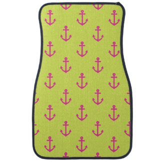 Lime Green Pink Nautical Anchor Pattern Car Mat