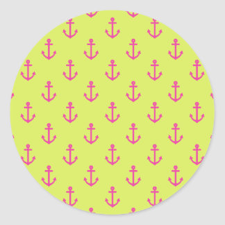 Lime Green Pink Nautical Anchor Pattern Classic Round Sticker