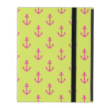 Lime Green Pink Nautical Anchor Pattern iPad Covers