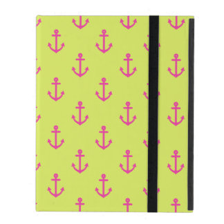 Lime Green Pink Nautical Anchor Pattern iPad Folio Case
