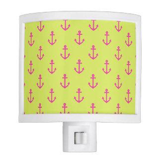 Lime Green Pink Nautical Anchor Pattern Nite Lite