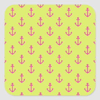 Lime Green Pink Nautical Anchor Pattern Square Sticker