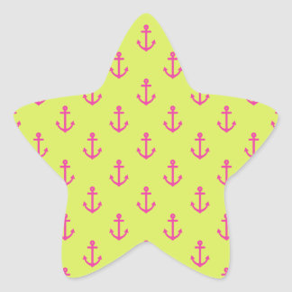 Lime Green Pink Nautical Anchor Pattern Star Sticker