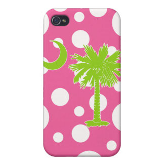 Lime Green/Pink Polka Dots Palmetto Moon iPhone 4  iPhone 4 Case