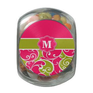 Lime Green Pink Swirls Monogram Candy Jar Jelly Belly Candy Jar