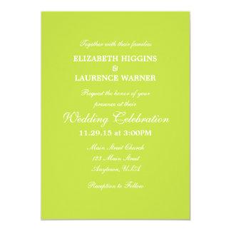 Lime Green Plain Simple Wedding Invitation
