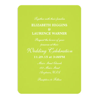 Lime Green Plain Simple Wedding Invitation
