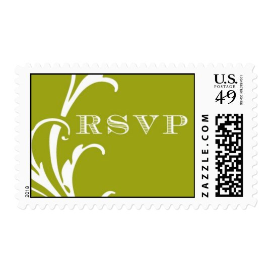 Lime Green Plume RSVP satmp Postage