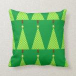 Lime green polka dot modern Christmas tree Pillow