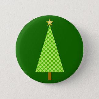 Lime green polka dot modern Christmas tree Pinback Button