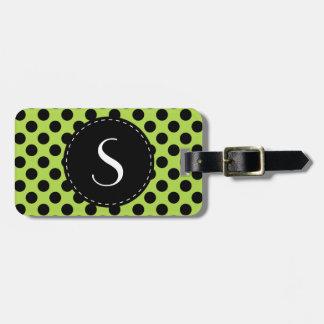 Lime Green Polka Dot Monogram Personalized Bag Tag