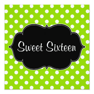 Lime Green Polka Dot Sweet 16 Birthday Party Card