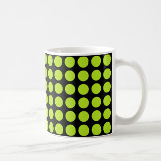 Lime Green Polka Dots Black Coffee Mug