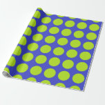 Lime Green Polka Dots Blue Wrapping Paper