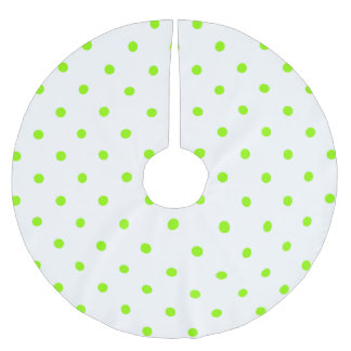 Lime Green Polka Dots Brushed Polyester Tree Skirt