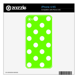 Lime green polka dots nail design for the spring decal for iPhone 4