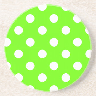 Lime green polka dots nail design for the spring drink coaster