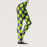 "Lime Green Polka Dots on Navy Blue Personalized Leggings<br><div class=""desc"">Big and bold Lime Green polka dots on a background of solid Navy Blue.  Personalize the right leg with your choice of name or special text.</div>"