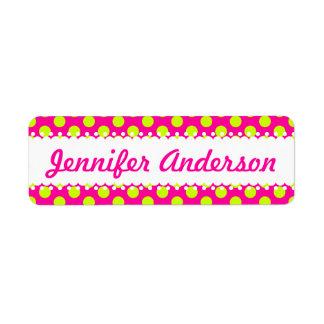 Lime Green Polka Dots on Pink - Custom Name Labels