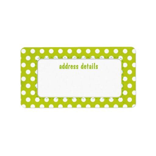 Lime green Polkadot Personalized Address Labels