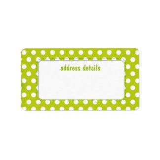 Lime green Polkadot Address Label