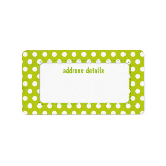 Lime green Polkadot Personalized Address Labels