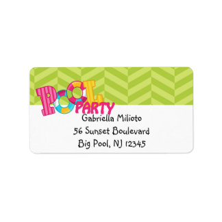 Lime Green Pool Party Shipping Label