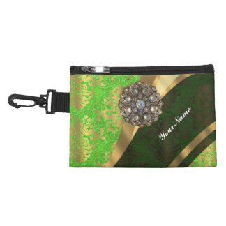 Lime green pretty girly vintage damask pattern accessory bag