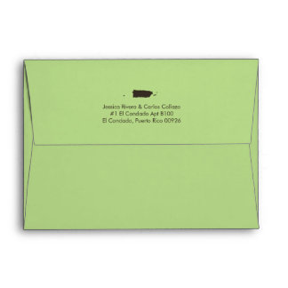Lime Green Puerto Rico Map Envelope