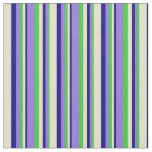[ Thumbnail: Lime Green, Purple, Blue & Tan Colored Lines Fabric ]
