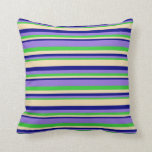 [ Thumbnail: Lime Green, Purple, Blue & Tan Colored Lines Throw Pillow ]