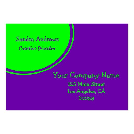 Lime green purple circle large business cards pack of 100 for Circle business card template